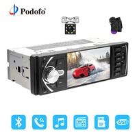 Podofo Car Radio 1 din 4022d FM radio car Auto Audio Stereo Bluetooth Autoradio Support Rearview Camera Steering Wheel Contral
