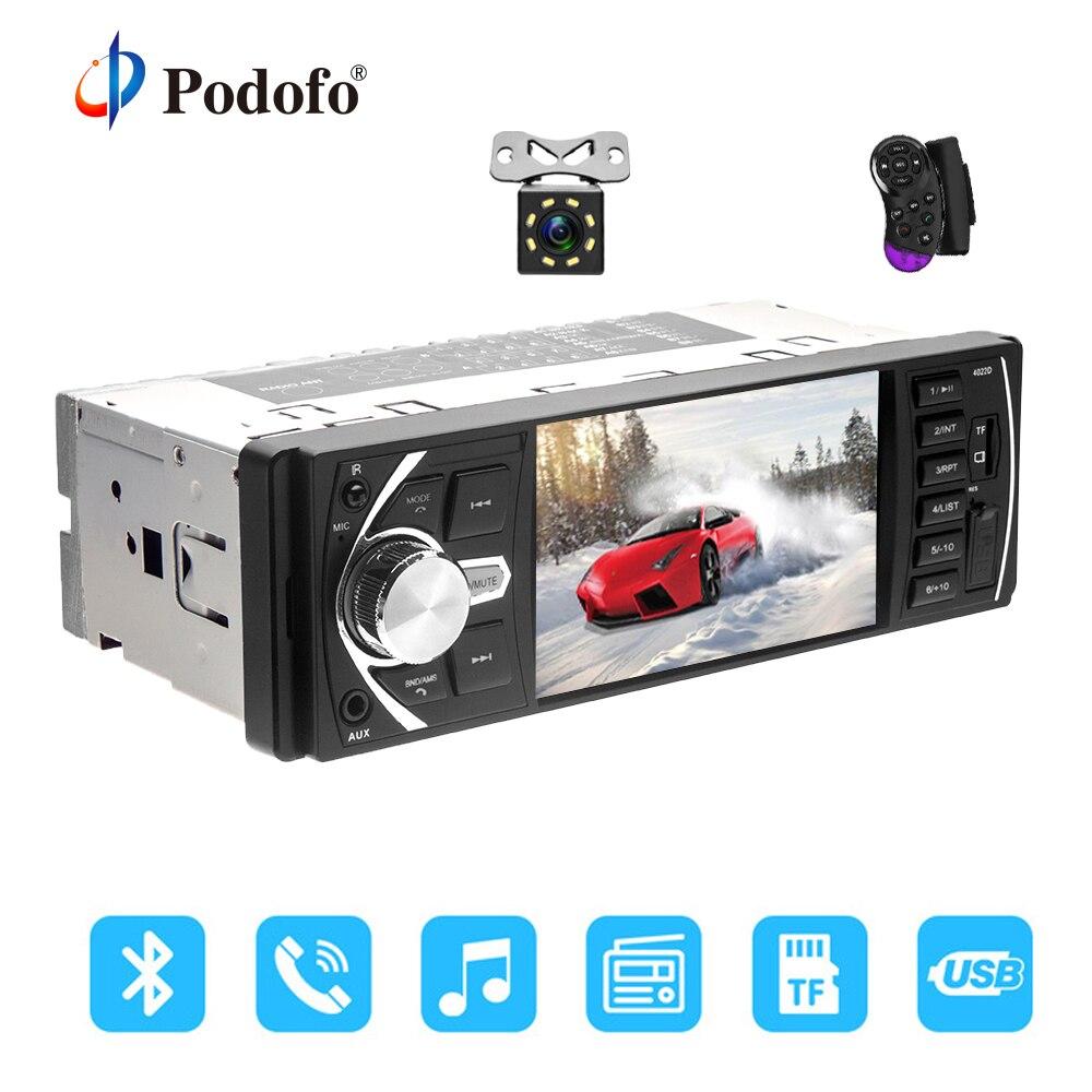 Podofo Auto Radio 1 din 4022d FM radio auto Auto Audio Stereo Bluetooth Autoradio Unterstützung Rück Kamera Lenkrad Contral