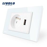 Livolo FrenchPower Socket Usb Socket White Crystal Glass Panel AC 110 250V 16A Wall Power Socket