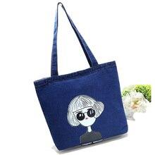 Fashion Jean Cowboy Design Durable Cotton Dinem Women Handbag Cartoon Printing Female Shoulder Bag Portable Women's Handbag
