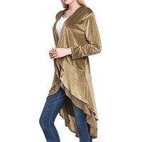 Autumn Women Velvet Coat Chiffon Trim Wrap Cardigan Irregular Cardigan Lace Trench Outwear