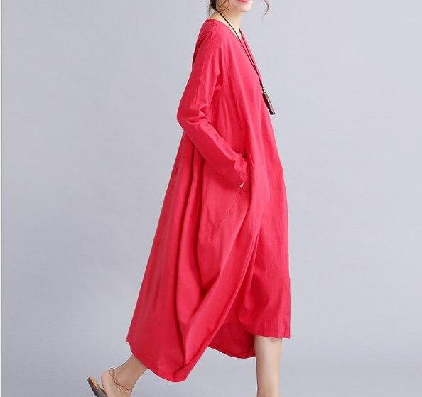 cou Lâche Élégante Lin Robe Grande Vintage O Manches Automne New 2017 Coton Longues Rouge Taille Partie Femmes white OYwAn4vPqx