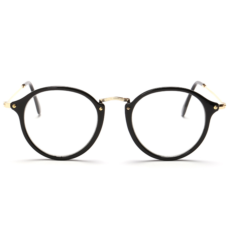 aliexpresscom buy new designer brand glasses frames gold with black rivets half metal oval brand optical glasses prescription uv oculos redondo from