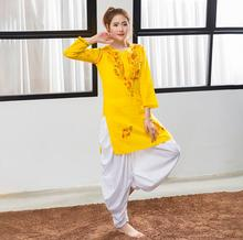 India Traditional Woman Yoga Costume Pants Cotton Handmade Embroidery Top Thin Short Styles Yellow
