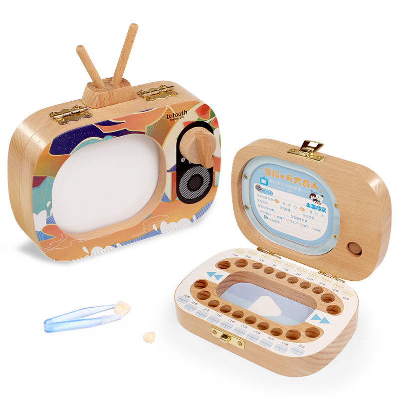 TV Shape Wooden Milk Tooth Organizer Boxes Kids Teeth Storage Keepsakes Creative Tooth Storage Preservation Box For baby Z751