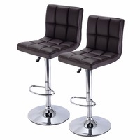 Set Of 2 Bar Stool PU Leather Barstools Chair Adjustable Counter Swivel Brown HW51712 2BN