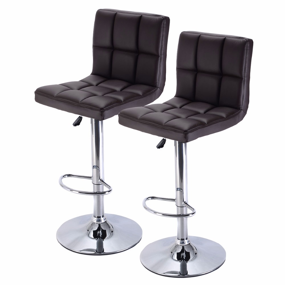 set of 2 bar stool pu leather barstools chair adjustable counter