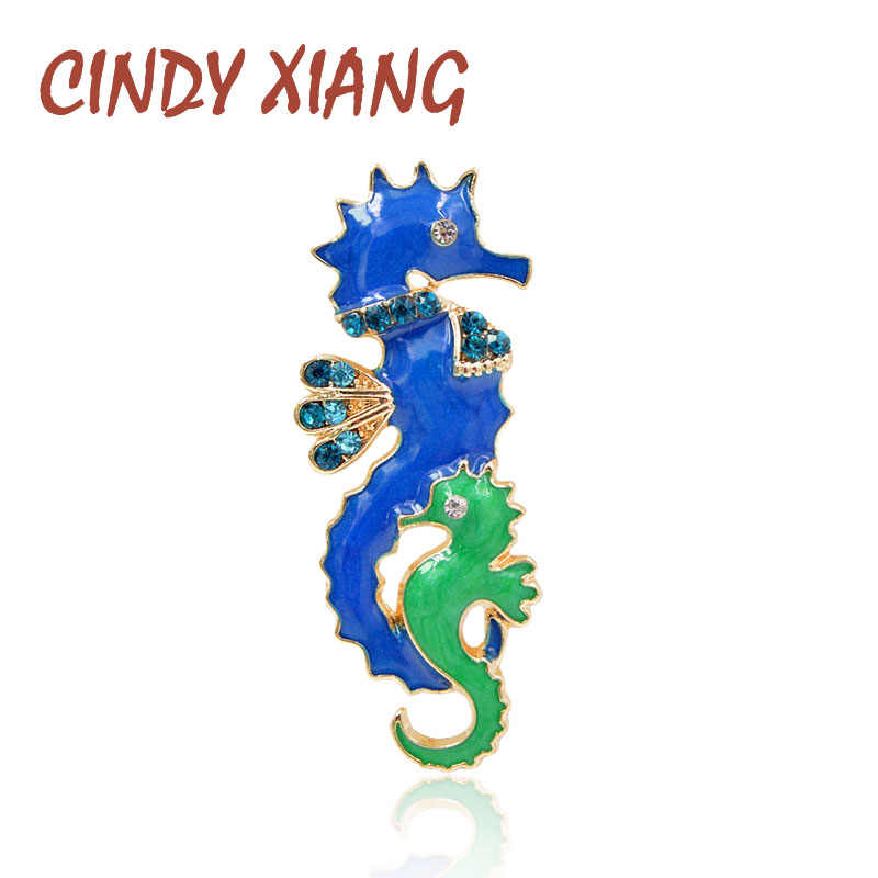 CINDY XIANG Blue Color Enamel Seahorse Brooches for Women Cute Small Animal Pin Dad and Baby Sea Horse Brooch Fashion Jewelry
