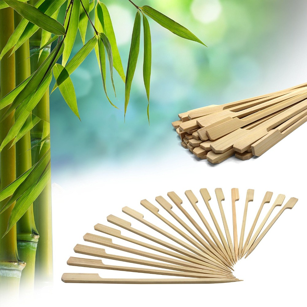 6inch Bamboo Picks Paddle Skewers Barbecue Sticks 6 Inch Set of 200 BBQ Party Supplier