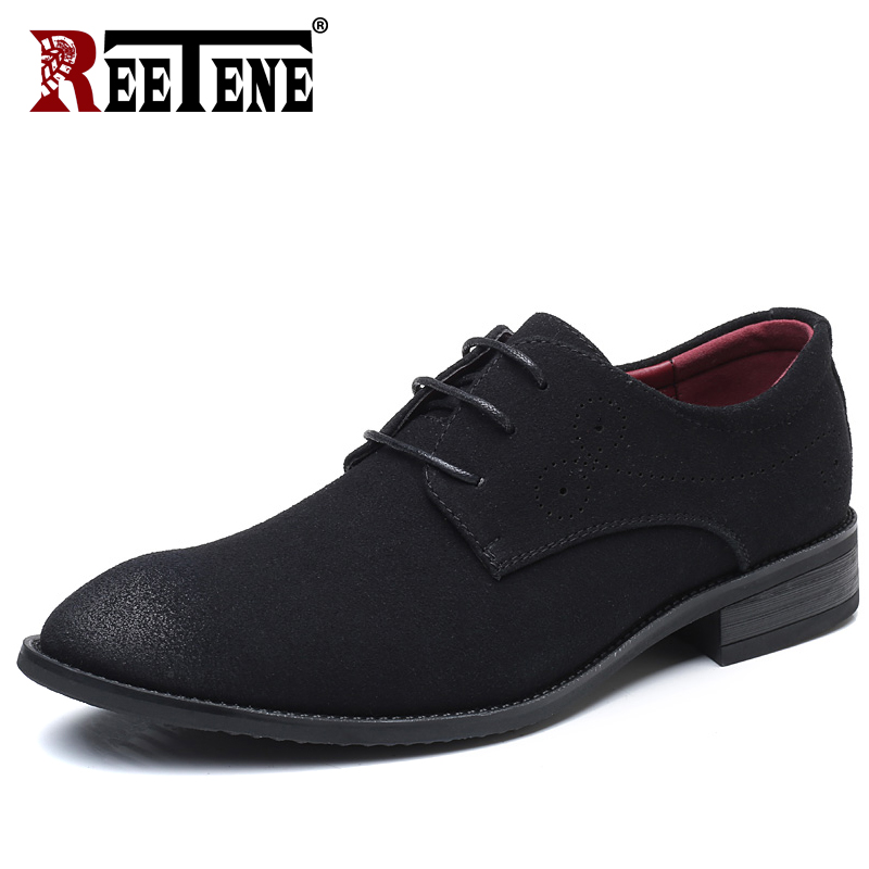 REETENE High Quality   Leather     Suede   Shoes Men Plus Size 38-48 Pointed Toe Wedding Shoes Men Flock Lace Up Dress Shoes Men Shoes