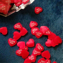 100pcs Wedding Party Red Fabric Heart Confetti I LOVE YOU Table Decoration Birthday Decorative Supplies