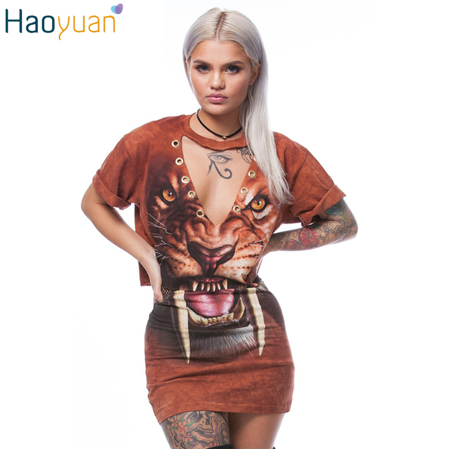 HAOYUAN Summer Sexy Two Piece Set Short Sleeve Crop Top And Skirt Set Women's Set Pencil Skirts Girl 3D Animal Printing Suits
