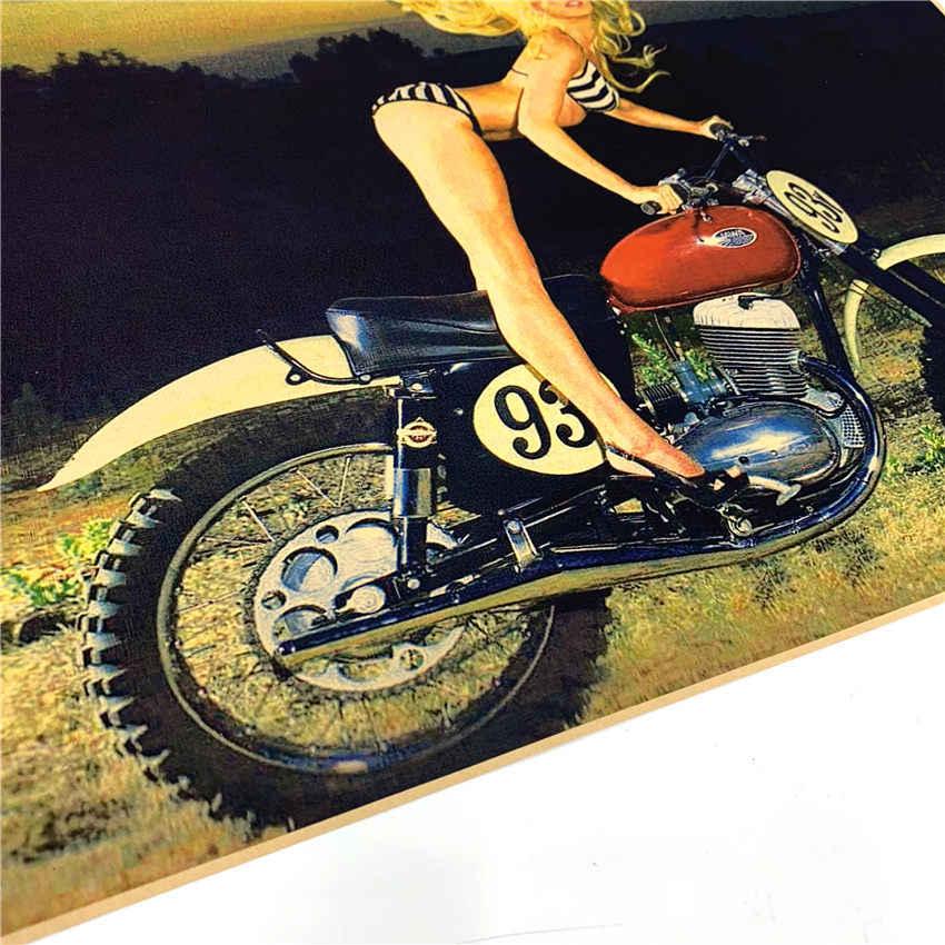 Sexy Cô Gái Xe Máy Áp Phích Cổ Điển Tường Biểu Đồ Retro Giấy Matte Giấy Kraft cafe bar pub tường sơn sticker 42x30 cm GGB028