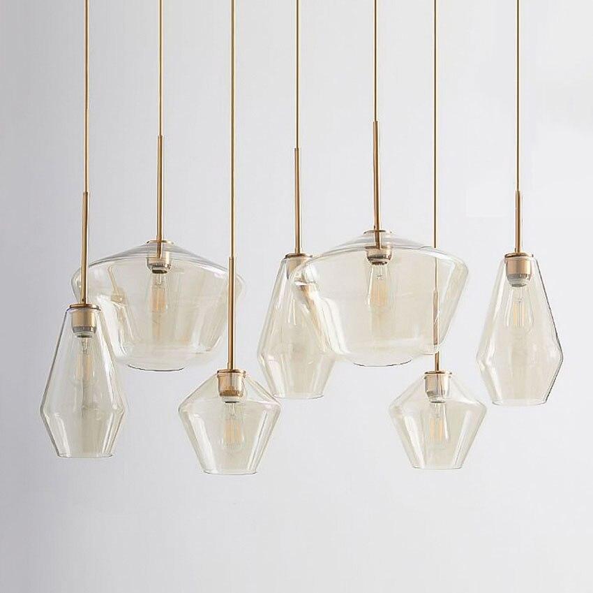 Post-modern Led Glass Pendant Lamp Nordic Dining Room Bar Transparent/Champagne Color Hanging Lamp Light Fixtures LuminairePost-modern Led Glass Pendant Lamp Nordic Dining Room Bar Transparent/Champagne Color Hanging Lamp Light Fixtures Luminaire
