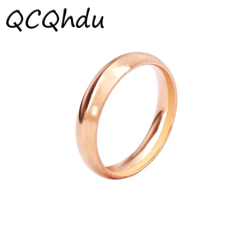 1PC Fashion Smooth Ring Man and Woman Rose Gold Color Couple Wedding Band Unisex Classic Rings