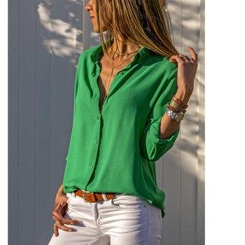 Women Tops Blouses Elegant Long Sleeve Solid V-Neck Chiffon Blouse Female Work Wear Shirts Plus Size Blouse blusa feminina 2