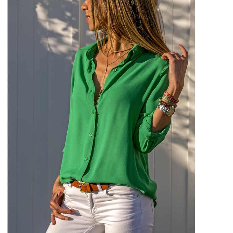 Women Tops Blouses Elegant Long Sleeve Solid V-Neck Chiffon Blouse Female Work Wear Shirts Plus Size Blouse blusa feminina