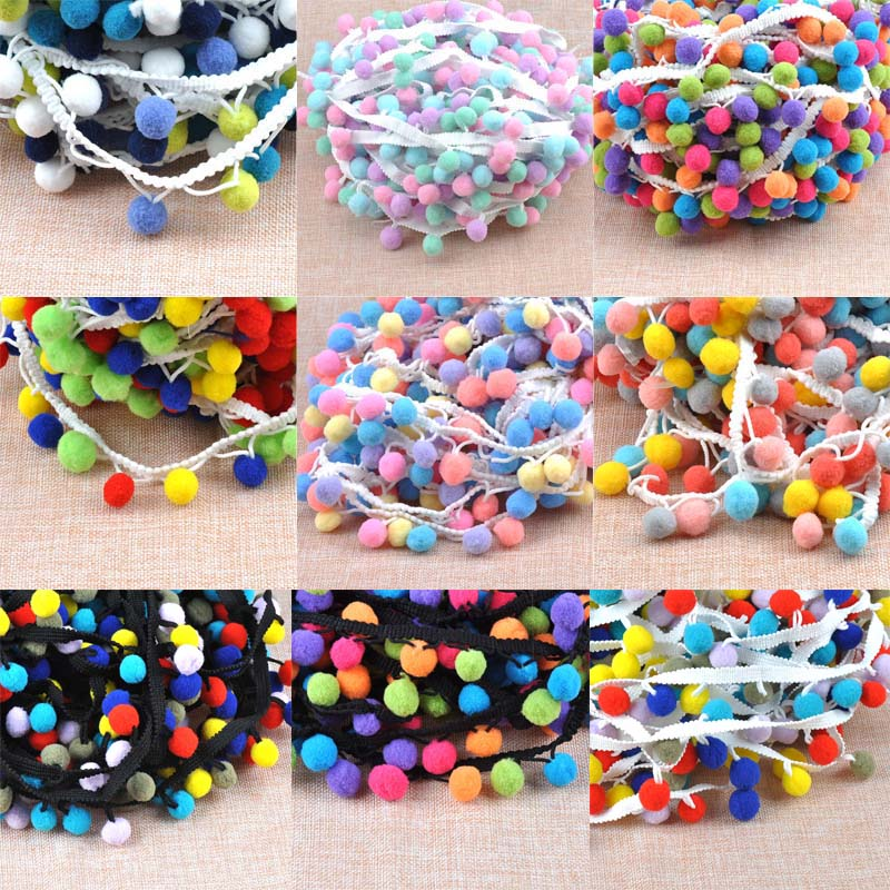 15mm Pompon Ball Trims Ribbon DIY Sewing Accessory Lace decoration 5 yard//lot