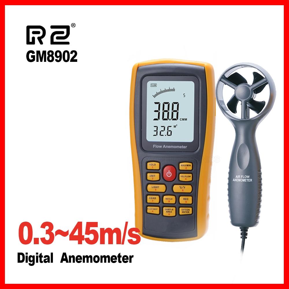 Wind speed meter Anemometer Wind FLOW Speed GaugeTemperature Measure Digital handheld measuring 45 m s USB