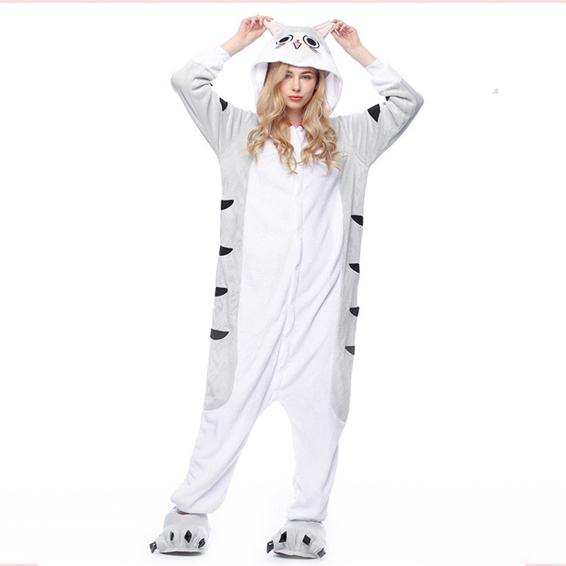 Cartoon Animal Chi Onesie Lovely Cat Pajama Women Adult Warm Thick Flannel Sleep Overalls Carnival Festival