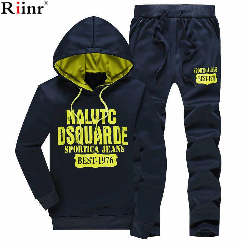 54de2e92 ... Riinr 2018 Новинка весны Для мужчин комплекты с флисовой подкладкой  толстовка + брюки мужской костюм теплые ...