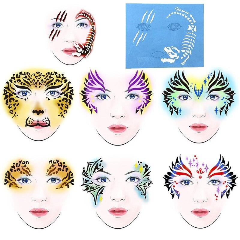 Hot 7PCS Reusable Soft Face Paint Stencil Facial Design ...