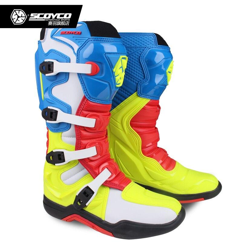 SCOYCO внедорожных длинные спортивные ботинки Мотокросс Мотоцикл для верховой езды Сапоги до колена тяжелые защитный ботинки MBM003