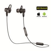 Anc fone de ouvido com cancelamento de ruído ativo earbud bluetooth 4.2 in ear mic linha controle magnético esporte música esportes sem fio fones de ouvido