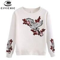 CIVICHIC Ethnische Kran Bestickt Frauen Outer Hemd Blumen Patched T-shirt Vintage Lose Pullover Hipster Baumwolle Tops Tragen WLT26
