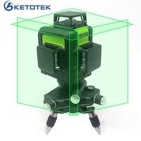 3D 12 линий зеленый лазерный уровень наливные 360 градусов Горизонтальные и вертикальные поперечные линии Перезаряжаемые Батарея открытый им