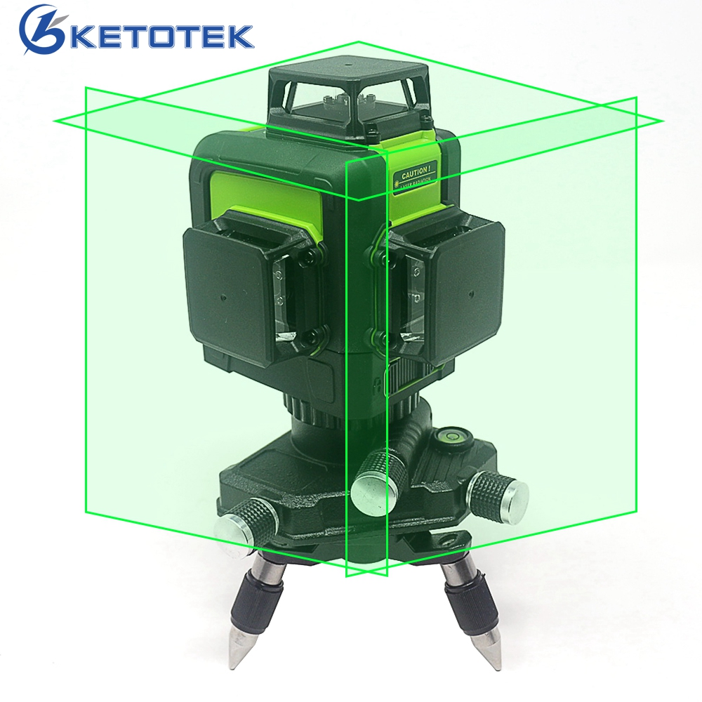 3D 12 Lines Green Laser Level Self-Leveling 360 degree Horizontal Vertical Cross Lines Rechargeable Battery Outdoor Pulse Mode