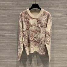 Женский шерстяной кашемировый модный вышитый свитер пуловер