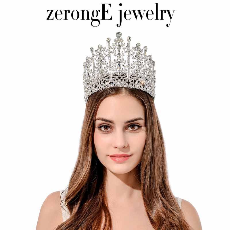 zerongE jewelry gorgeous rhinestone pageant drop wedding tiara lady bridal tiara hair jewelry band miss world