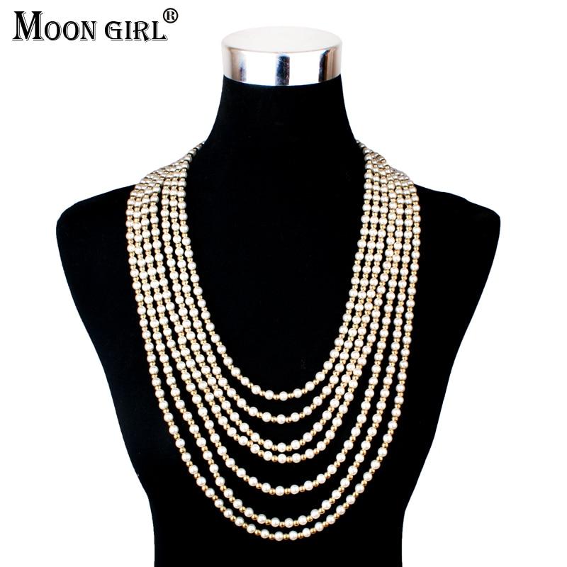MOON GIRL, новинка, длинное ожерелье с искусственным жемчугом, модные ювелирные изделия, 2017, массивный чокер с несколькими слоями, ожерелье для женщин|chokers necklaces for women|pearl long necklaceslong necklace | АлиЭкспресс