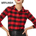 VESTLINDA Camisas De Linho Moda 2017 Tops Mulheres Top Tees Xadrez vermelha Camisa de Manga Longa Gola Virada Para Baixo Algodão Ocasional camisa