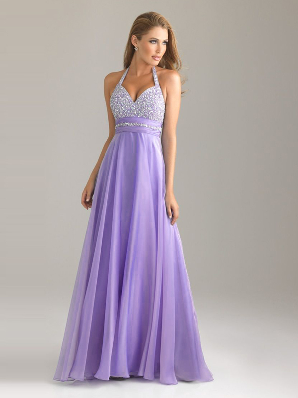 Fashion Cheap Free Shipping Wholesale Price Lavender Halter Sequined Chiffon Long Wedding Party   Dress     Bridesmaid     Dresses   2015