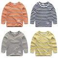 Ребенок мужского пола полосы с длинным рукавом Футболка ребенок 100% хлопок основной рубашка 2017 весна детская одежда детские топ т рубашка