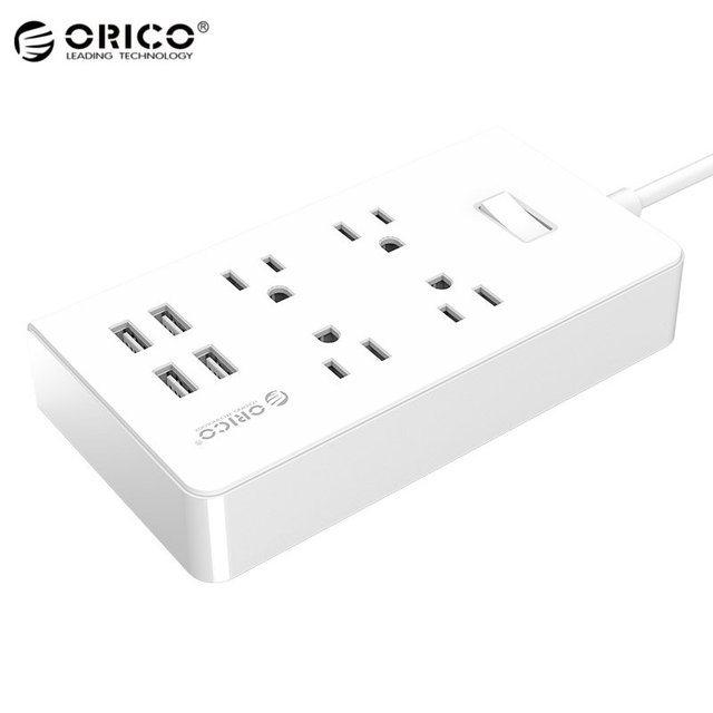 ORICO 4 AC Outlets 4 USB Ports Surge Protector Socket Power Charger US Plug Charge For iPhone For Samsung Mobile Phones