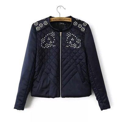 ФОТО 2017 New Winter Ladies European Style Retro Hand Sewing Sequins Diamond Lattice Slim Padded Jacket