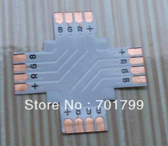 10mm width 4pin + type PCB connector, used for 10mm 5050 led rgb strip connection