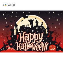 Laeacco Happy Halloween Photography Background Customized Black Castle Kids Photocall Photographic Backdrops for Photo Studio