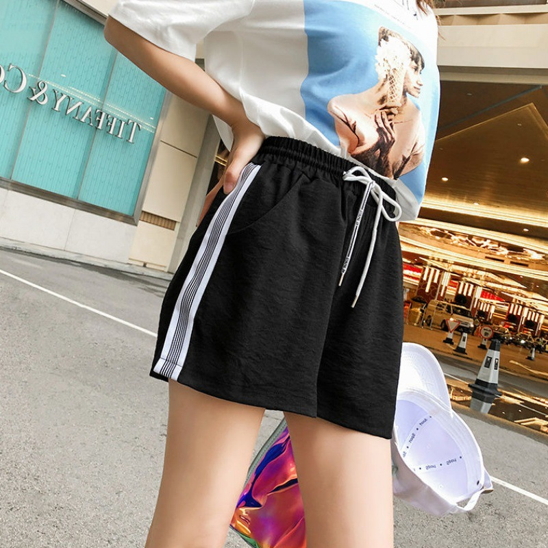 Striped Side Drawstring Shorts Women Summer Elastic Waist Athleisure Shorts Women Black Mid Waist Sporting Shorts