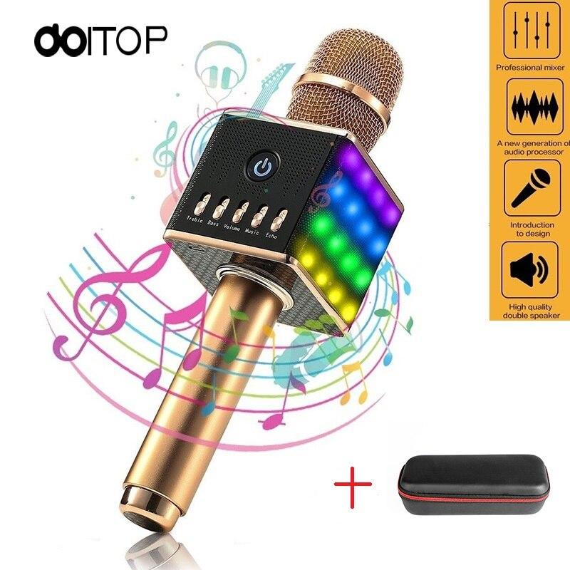 DOITOP Bluetooth Karaoke Live Microphone Portable Handheld Wireless KTV Machine Microfone Speaker LED Light Mic for Phone PC B4