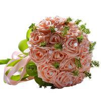 Handmade Pastorale Artificiali Fiori Finti Bouquet di Rose di Simulazione Perle Nuziale della Holding Toss Bouquet Per La Cerimonia Nuziale Favorisce