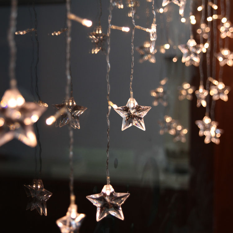 m pcs led curtain star string lights christmas new year party wedding indoor outdoor with outdoor lighted christmas star - Outdoor Christmas Lights Stars