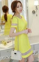 Short sleeve female dress 2017 summer new women's clothing fashion Slim Net yarn Stitching Bottom dress Dress woman Round neck