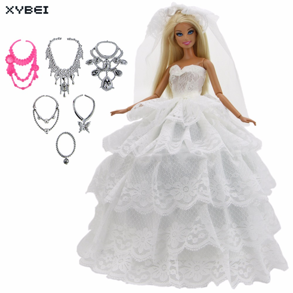 8 Pcs = 1x White Dress Wedding Party Gown Church Lace Skirt With Veil + Random 6x Necklaces Clothes For Barbie Doll Accessories leadingstar barbie doll dresses 6 party dress 12 casual skirt set random color and styles with doll s accessories zk30