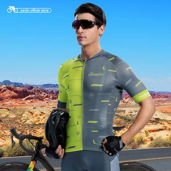 Santic Men Short Sleeve Cycling Jersey Racing Riding Bike Jersey Shirt Breathable Summer Jersey Cycling Team Shirt Asia S-2XL