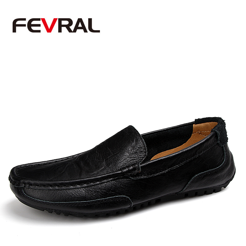 FEVRAL Classic Comfortable Men Casual Shoes Loafers Men Shoes Quality Split Leather Shoes Men Flats Hot Sale Moccasins Plus Size