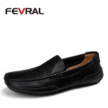 FEVRAL Classic Comfortable Men Casual Shoes Loafers Men Shoes Quality Split Leather Shoes Men Flats Hot Sale Moccasins Plus Size